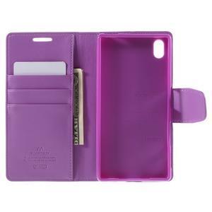 Sonata PU kožené peněženkové pouzdro na Sony Xperia Z5 - fialové - 6
