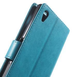 Butterfly PU kožené pouzdro na Sony Xperia Z5 - modré - 6