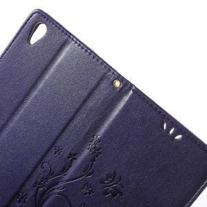 Butterfly PU kožené pouzdro na Sony Xperia Z5 - fialové - 6