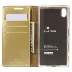Moon PU kožené pouzdro na Sony Xperia Z5 - zlaté - 6