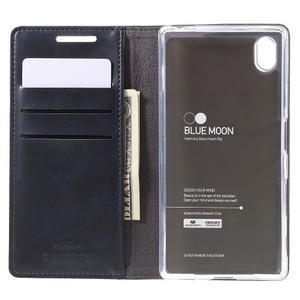 Moon PU kožené pouzdro na Sony Xperia Z5 - tmavěmodré - 6