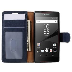 Grid peněženkové pouzdro na mobil Sony Xperia Z5 Compact - tmavěmodré - 6