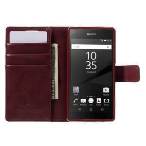 Bluemoon PU kožené pouzdro na Sony Xperia Z5 Compact - tmavěčervené - 6