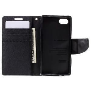 Canvas PU kožené/textilní pouzdro na Sony Xperia Z5 Compact - černé - 6