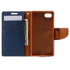 Canvas PU kožené/textilní pouzdro na Sony Xperia Z5 Compact - modré - 6