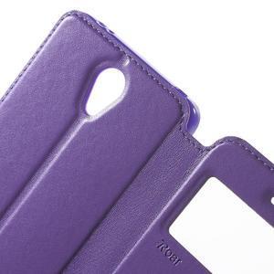 View PU kožené pouzdro s okýnkem na Xiaomi Redmi Note 2 - fialové - 6