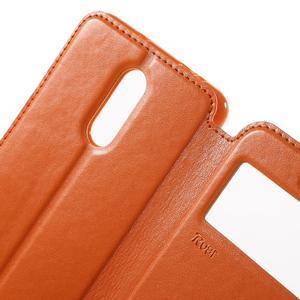PU kožené pouzdro s okýnkem na Xiaomi Redmi Note 3 - oranžové - 6