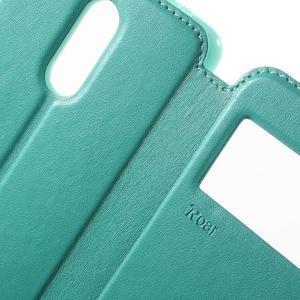 PU kožené pouzdro s okýnkem na Xiaomi Redmi Note 3 - azurové - 6