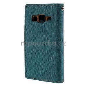 Stylové textilní/PU kožené pouzdro na Samsung Galaxy Core Prime - zelenomodré - 6