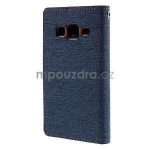 Stylové textilní/PU kožené pouzdro na Samsung Galaxy Core Prime - modré - 6