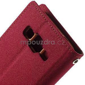 Stylové textilní/PU kožené pouzdro na Samsung Galaxy Core Prime - červené - 6