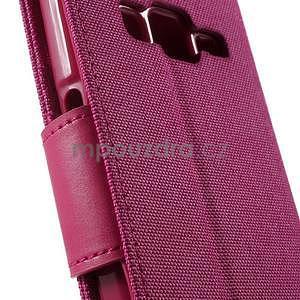 Stylové textilní/PU kožené pouzdro na Samsung Galaxy Core Prime - růžové - 6