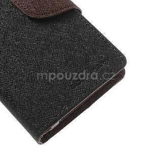 Fancy peněženkové pouzdro na Sony Xperia Z1 Compact - černé/hnědé - 6