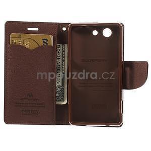 Diary peněženkové pouzdro na mobil Sony Xperia Z3 Compact - černé/hnědé - 6