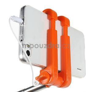 Selfie tyč s automatickým spínačem na rukojeti - oranžová - 6