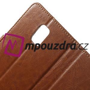 Peněženkové PU kožené pouzdro na Samsung Galaxy Note 4- hnědé - 7
