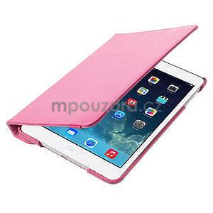 PU kožené 360 °  pouzdro pro iPad mini- růžové - 7