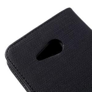 Cloth PU kožené pouzdro na mobil Microsoft Lumia 550 - černé - 7