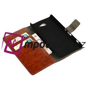 Peněženkové PU kožené pouzdro na Sony Xperia M2 D2302 - hnědé - 7