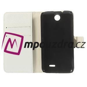 Peněženkové PU kožené pouzdro na HTC Desire 310- bílé - 7