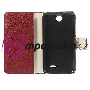 Peněženkové PU kožené pouzdro na HTC Desire 310- červené - 7