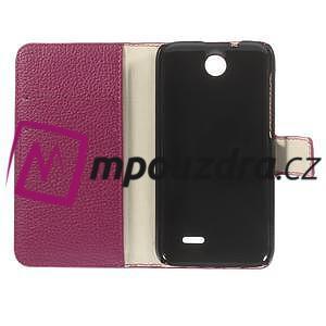 Peněženkové PU kožené pouzdro na HTC Desire 310- růžové - 7