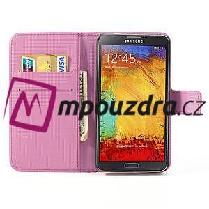 Peněženkové pouzdro na Samsung Galaxy Note 3- fiaolový květ - 7