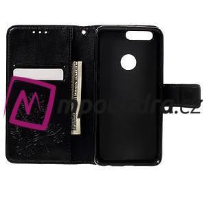 Floay PU kožené pouzdro s kamínky na mobil Honor 8 - černé - 7