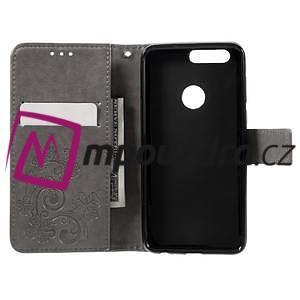 Floay PU kožené pouzdro s kamínky na mobil Honor 8 - šedé - 7
