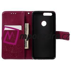 Floay PU kožené pouzdro s kamínky na mobil Honor 8 - rose - 7