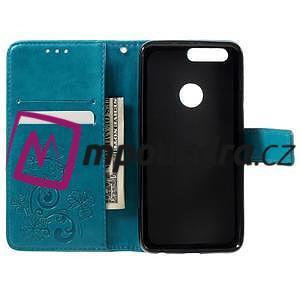 Floay PU kožené pouzdro s kamínky na mobil Honor 8 - modré - 7
