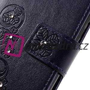 Floay PU kožené pouzdro s kamínky na mobil Honor 8 - fialové - 7