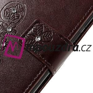 Floay PU kožené pouzdro s kamínky na mobil Honor 8 - hnědé - 7