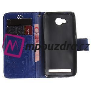 Dandelion PU kožené pouzdro na mobil Huawei Y3 II - modré - 7