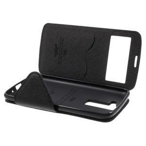 Diary PU kožené pouzdro s okýnkem na LG K8 - černé - 7