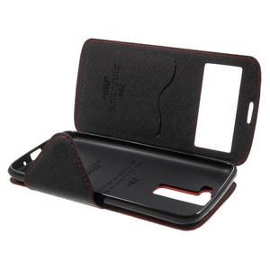 Diary PU kožené pouzdro s okýnkem na LG K8 - červené - 7