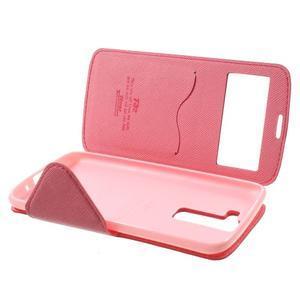 Diary PU kožené pouzdro s okýnkem na LG K8 - rose - 7