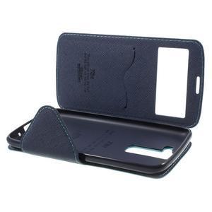 Diary PU kožené pouzdro s okýnkem na LG K8 - světlemodré - 7