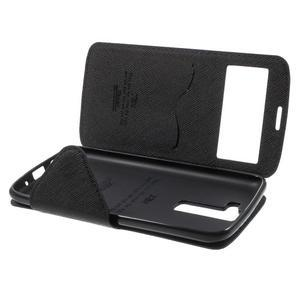 Diary PU kožené pouzdro s okýnkem na LG K8 - tmavěmodré - 7