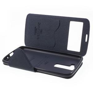 Diary PU kožené pouzdro s okýnkem na LG K8 - fialové - 7