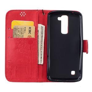 Dandelion PU kožené pouzdro na mobil LG K8 - červené - 7