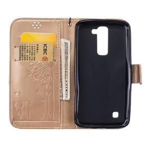 Dandelion PU kožené pouzdro na mobil LG K8 - zlaté - 7