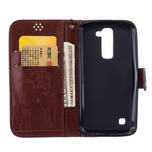Dandelion PU kožené pouzdro na mobil LG K8 - hnědé - 7