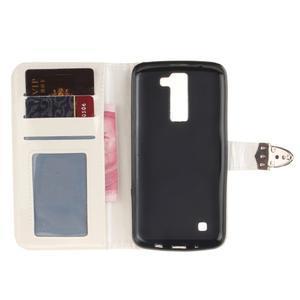 Luxusní PU kožené pouzdro s přezkou na LG K8 - bílé - 7