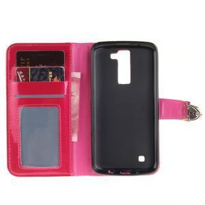Luxusní PU kožené pouzdro s přezkou na LG K8 - rose - 7