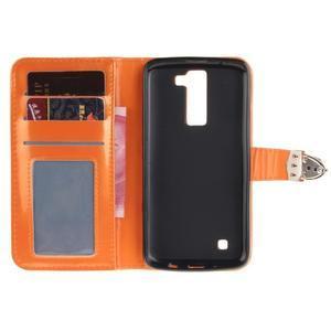 Luxusní PU kožené pouzdro s přezkou na LG K8 - oranžové - 7