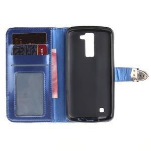 Luxusní PU kožené pouzdro s přezkou na LG K8 - modré - 7