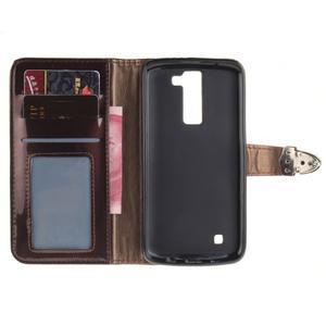 Luxusní PU kožené pouzdro s přezkou na LG K8 - hnědé - 7