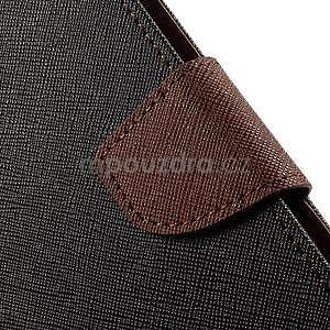 Zapínací PU kožené pouzdro na Asus Zenfone 2 ZE551ML - černé/hnědé - 7