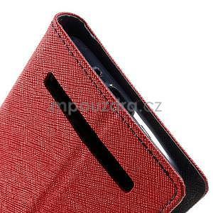 Zapínací PU kožené pouzdro na Asus Zenfone 2 ZE551ML - červené - 7